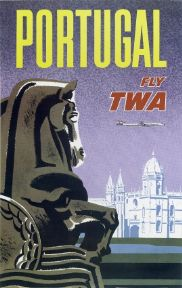 Vintage Travel Poster, Fly TWA Portugal